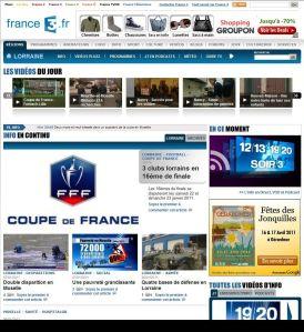 La nouvelle page info du site internet de France 3 Lorraine